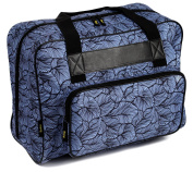 Kenley Sewing Machine Tote Bag - Padded Storage Cover Carrying Case with Pockets and Handles - Universal Fit 18x 10inches x 33cm for Janome Brother Singer - Midnight Flowers