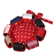 Neoviva Fabric Coated Pin Cushion for Needlework with 8 Replaceable Rolls of Thread in Different Colours, Polka Dots Red