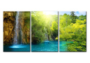 Waterfall Sunrise Blue Lake Canvas Print Wall Art Painting For Home Decor The Forest 3 Pieces Panel Paintings Modern Artwork The Picture For Living Room Decore Landscape Pictures Prints On Canvas