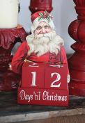 25cm Wood Large Santa Countdown Advent Calendar Days Til Christmas Holiday Dice