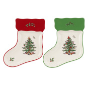 Spode Christmas Tree Stocking Dishes, Set of 2