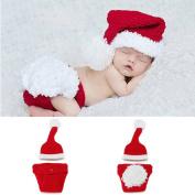 New Born Baby Handmade Crochet Knit Christmas Photograph Hat and Underwear
