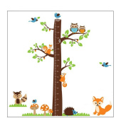 Forest Animals and Owl with Tree Growth Chart Vinyl Wall Decal for Kids, Nursery Room