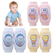 Pro1rise® 3 Pairs Baby Crawling Knee Pads Super Breathable Adjustable Cartoon Kneepads Knee Elbow Pads Arm Pads Safety Protector For 9-24 Months Toddler Girls and Boys, 100% Satisfaction