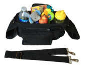 Premium Stroller Organiser, Universal Fit with Zip off Pouch, Removable Shoulder Strap, Insulated Cup Holders, and Mesh Bag for Extra Storage! Superior Quality with Lots of Space!