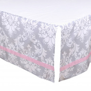 Grey Damask Tailored Crib Dust Ruffle with Pink Accents by The Peanut Shell