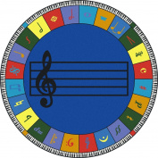 Joy Carpets Kid Essentials Music & Special Needs Round Elementary Note Worthy Rug, Multicoloured, 4m