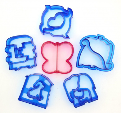 Set of 6 - ZICOME Cake, Cookie & Sandwich Cutter Adorable Shapes for Kids - Dinosaur, Dolphin, Elephant, Dog, Butterfly & Train