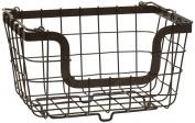 Gourmet Basics by Mikasa General Store Stacking/Nesting Metal Basket, Antique Black