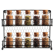 Sorbus Spice Jars Rack (2 Tier), Black
