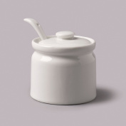 WM Bartleet & Sons Ceramic White Small Sugar Jam Pot with Spoon