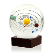 Sumnacon Clear Crystal Ball Sphere 80mm / 3 inch , Solar System Crystal Ball with Wood Stand, Planet Balls for Astronomer, Lover of Space, Kids and Student