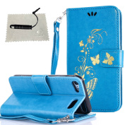 iPod Touch 6 Case,iPod Touch 5 Case,iPod Touch 6 Case Blue,TOCASO Thin Lightweight Colour Pattern PU Leather Embossed Gold Glitter Butterfly Flower Anti Scratch Soft Silicone Inner With Hand Strap Full Body Protection Holster with Build-in Stand Up Vie ..