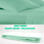 COT BED DUVET COVER WITH PILLOWCASE- SUPERIOR NATURAL COTTON RICH 120 X 150 CM - MINT GREEN