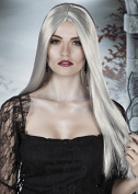 Womens Halloween Long Grey Ghost Wig