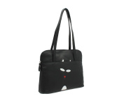 Mala Leather TEDDY Collection Soft Leather Twin Strap Shoulder Bag 786_82 Black