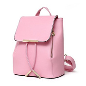 women shoulder bags - TOOGOO(R)women fashion PU leather backpacks high quality tassel hasp preppy style school shoulder bags teenage girls sport candy solid colour cute backpack Pink