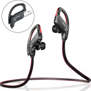 Bluetooth Headphones Vodabang IPX4 Sweatproof Wireless Sport Earphones with Mic for all Cell Phones Tablet Black-Red