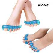 Gel Toe Separators & Toe Spreader (4 Pcs) -Toe Stretchers Pain Relief for Bunion Alleviating Pain After Yoga and Sports Activities - Cure Bunion, Hammer Toes, Claw Toes, Crooked Toes Toe Spacers for Yogis, dancers and Athletes