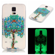 Samsung Galaxy S5 Rubber Case,Samsung Galaxy S5 Luminous Tpu Phone Case,Tebeyy Transparent Ultra Slim Soft TPU Silicone Green Tree Painted Bumper Protective Case for Samsung Galaxy S5 with Screen Protector & Stylus