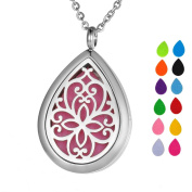 VALYRIA Aromatherapy Oil Diffuser Necklace Locket, Water Drop Pendant, Flower Grill Works, Silver Stainless Steel