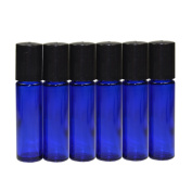 6 x 10ml Blue Glass Roller Bottle Empty Refillable Metal Roller Ball Glass Bottle Roll On Glass Bottle For Perfume Serum Lotion Aromatherapy Essential Oil