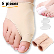 DR JK- Gel Pad Bunion Sleeves & Bunion Protector Kit-8 Pcs Bunion Corrector, Toe Caps, Big Toe Protectors, Toe Spacers, Gel Toe Protectors, Bunion Pads, Bunion Relief, Hallux Valgus, Toe Straighteners