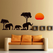Sunset Elephant Family Go Home Wall Sticker for Home Decor