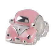 Authentic Silverado Pink Enamelled VW Bettle Charm Bead Compatible with Pandora Chamilia Troll Biagia etc