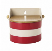 Cornishware Red and White Stripe Stoneware Salt Box Cellar
