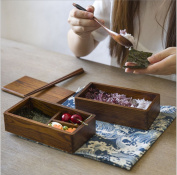 Ecloud Shop® Environmental Wooden Lunch Box Japanese Style Wooden Sushi Bento Box