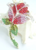 Sindary 9.5cm Gold Tone Pretty Rosebud Flower Brooch Pin Pink Red Austrian Crystal UKB4751