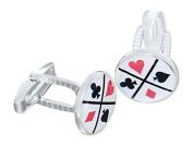 Hobra/Gold New Fashion Solid Silver Cufflinks for the Card Player Cheques/Pik Heart Cross