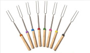 Ecloud Shop® Marshmallow Roasting Sticks - Set Of 8 Telescopic Stainless Steel Skewers - Perfect forks for Hot Dogs & Smores - Extendable To 80cm long- Free Bag 100% Satisfaction Guaranteed!
