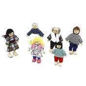 NUOLUX 6Pcs Family Dolls Playset Wooden Figures Set for Children House Pretend Gift Random Colour