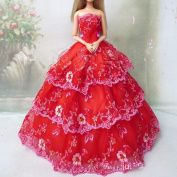 Youvinson Varioous Handmade Wedding Dresses and Clothes for Barbie Dolls