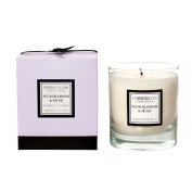 Modern Classics Scented Candle By Stoneglow. PLUM BLOSSOM & MUSK. Presented in glass and gift boxed. Stunning high quality candle and packaging.