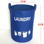 Hoomall Foldable Laundry Hamper Large Cylindric Closet Storage Bin Bag Storage Basket Bucket 34x45cm Blue