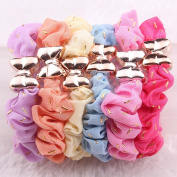 Cuhair(tm) 6pcs mix colour assorted Girl Women cloth elastic force Ponytail Holders hair Ties Rope bands rubber Scrunchie Accessories