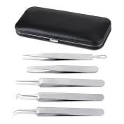 Hotrose Professional Slant Splinter & Curved Tip Stainless Steel Tweezers for Women