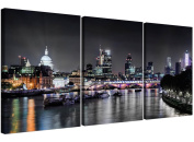 Cheap London Skyline Canvas Art - 3 Panel for your Living Room - Trendy Cityscape Canvas Pictures - 3211 - Wallfillers®