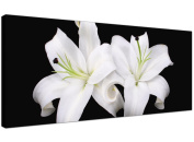 Large Black and White Canvas Prints of Lily Flowers - Trendy Floral Wall Art - 1128 - Wallfillers®