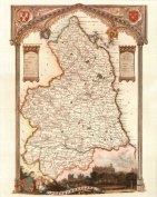 Northumberland Reproduction Antique Map, Retro Reproduction Northumberland Map, Thomas Moule Maps