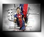 Lionel Messi F.C. Barcelona Football Canvas Print Picture 80cm x 50cm Canvas Art Print Picture Poster, Ready To Hang New