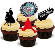 NOVELTY ROCK N ROLL MIX 50s Fifties - Standups 12 Edible Standup Premium Wafer Cake Toppers