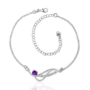 SunIfSnow Women Simple Geometric Charm with AAA Zircon Classic Small Ring Link Anklet