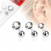 Kultpiercing Helix Tragus Ear Crystals Transparent