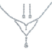 Bling Jewellery Double Teardrop CZ Bridal Necklace Earrings Set Rhodium Plated