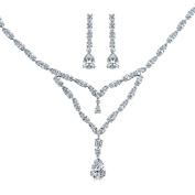 Bling Jewellery Double Teardrop CZ Bridal Necklace Earrings Set Rhodium Plated