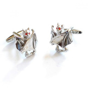 Mens Shirt Accessories - Closed Wings Bat With Red Crystal Eyes Cufflinks (With Black Presentation Box) - Novelty Animal Theme Jewellery